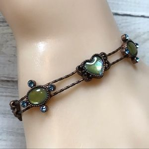 Jewelry - copper lime green Iridescent heart bracelet